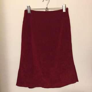 🇯🇵古著 聖誕紅麂皮裙
