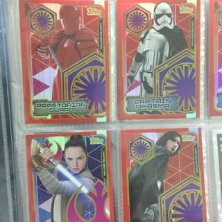Star Wars Last Jedi Limited Edition Cards Topps set of 4 kylo rey phasma guard