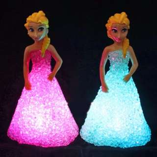 Elsa/ Anna LED Colorful Lights gradient crystal Night Light Led Lamp with battery toy christmas holiday gift#1212yes
