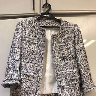 Chanel Inspired Tweed Jacket White