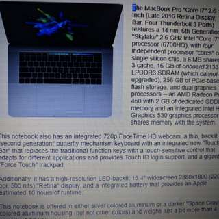MacBook Pro 15 inch 2016 2.6Ghz 16GB 450 Radeon!!