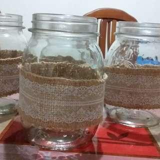 Mason Jars with laced burlap