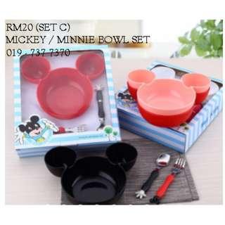 set C mickey  bowl