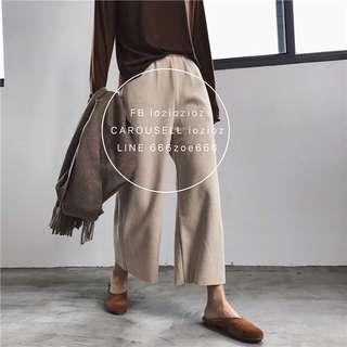 ioz 簡約鬆緊高腰針織寬腿褲 秋冬休閒