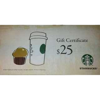 Starbucks Gift Certificate $25 星巴克現金券