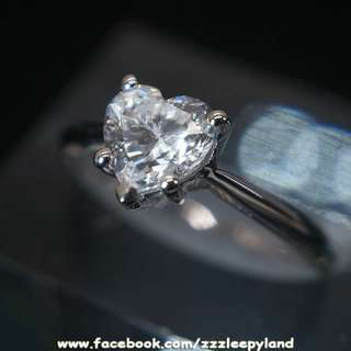 實物拍攝  超閃925純銀6層包金1卡5爪心型高炭鑽戒指