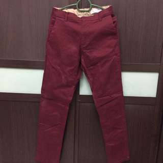 Straight Cut Pants | Maroon berry