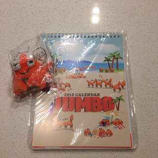 Jumbo 2018 calendar, and a crab plushie