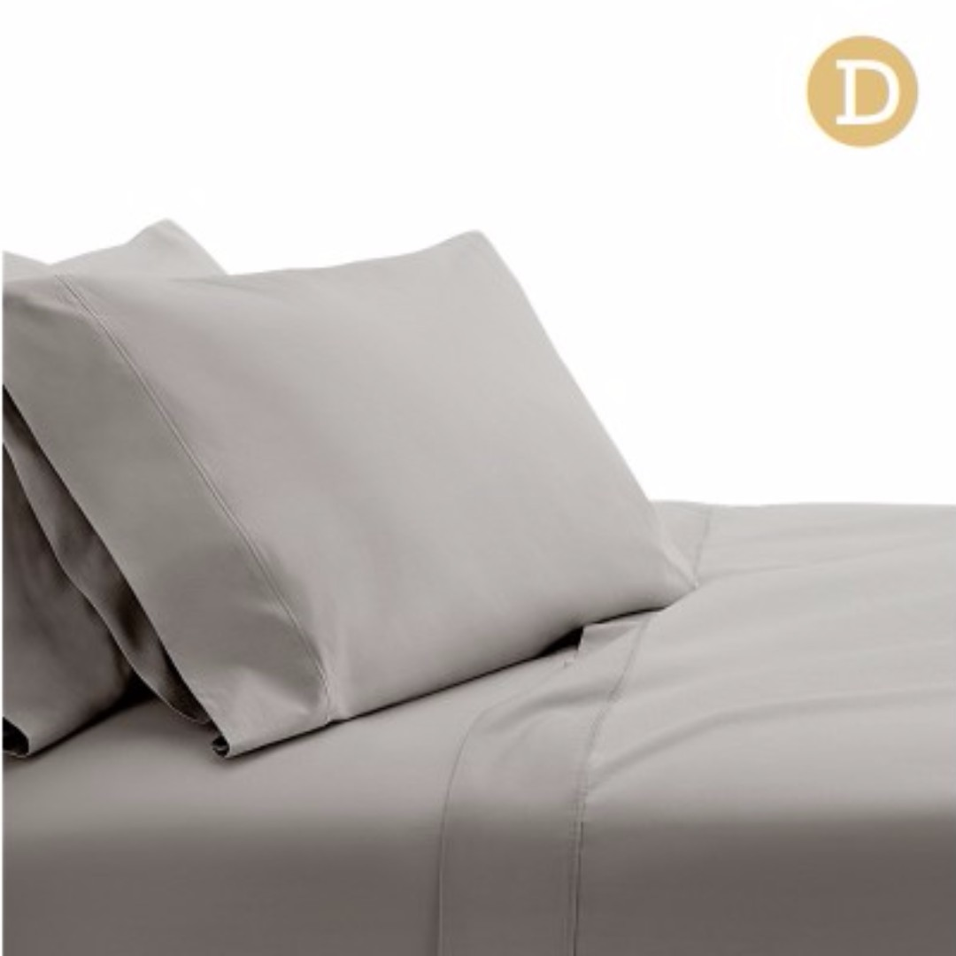 4 Piece Cotton Bed Sheet Set Double Grey SKU: SHEET-CT-SOLID-D-GR