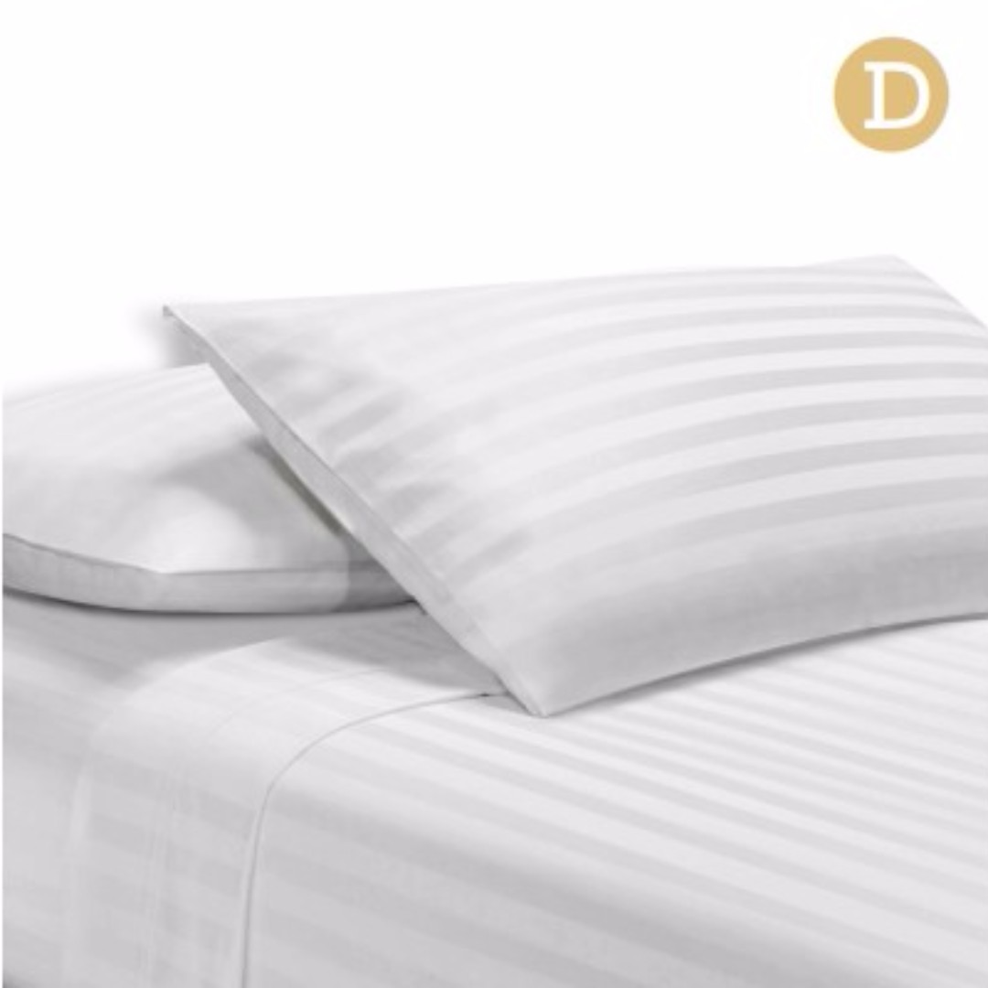 4 Piece Cotton Bed Sheet Set Double White SKU: SHEET-CT-STRIP-D-WH