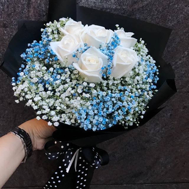 6 Cream roses with blue and white Baby Breath Hand Bouquet
