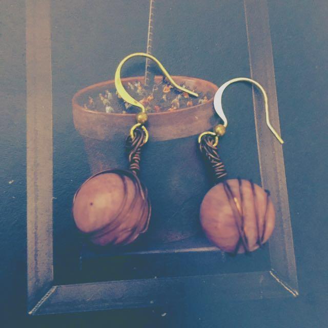 玫瑰粉石銅製手工耳勾耳針