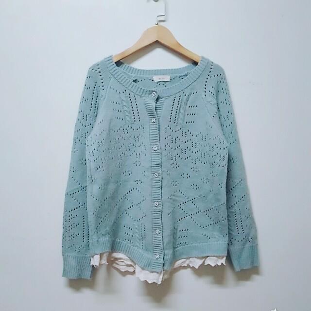 湖水綠針織蕾絲外套