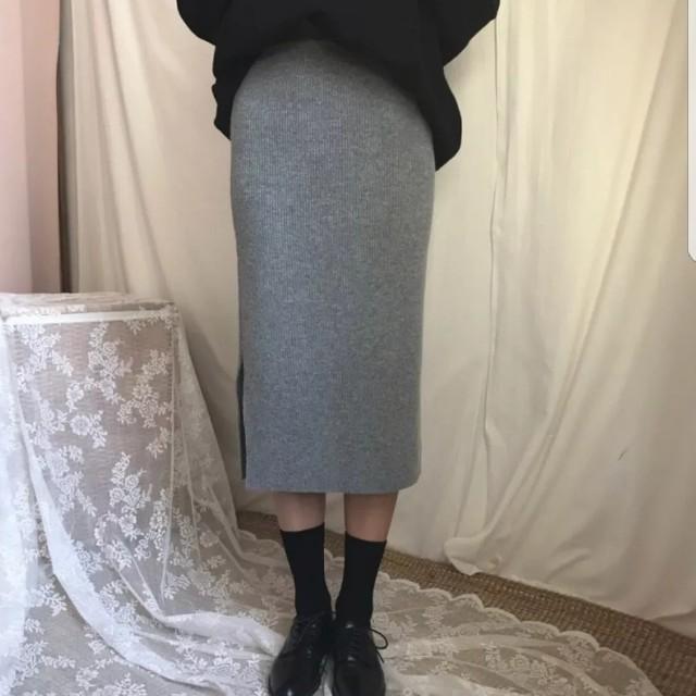 韓。復古鬆緊針織裙