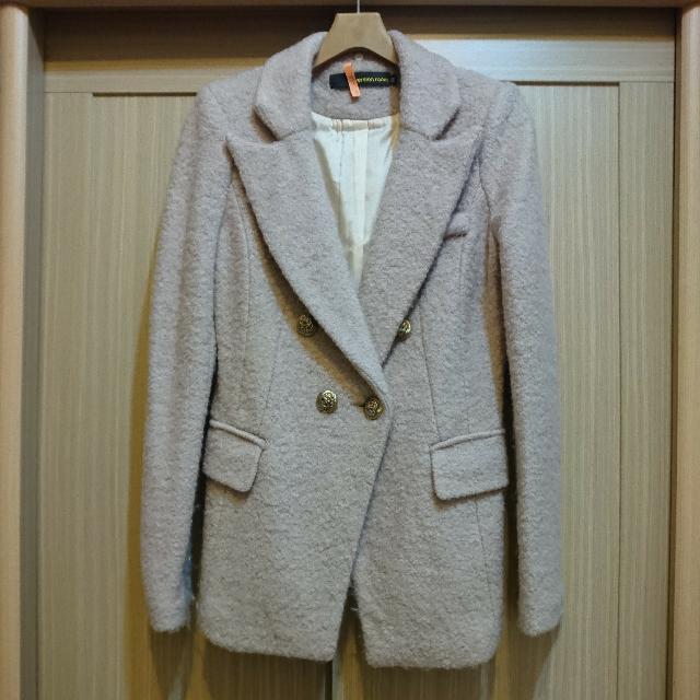 韓貨 藕粉色毛料西裝大衣外套