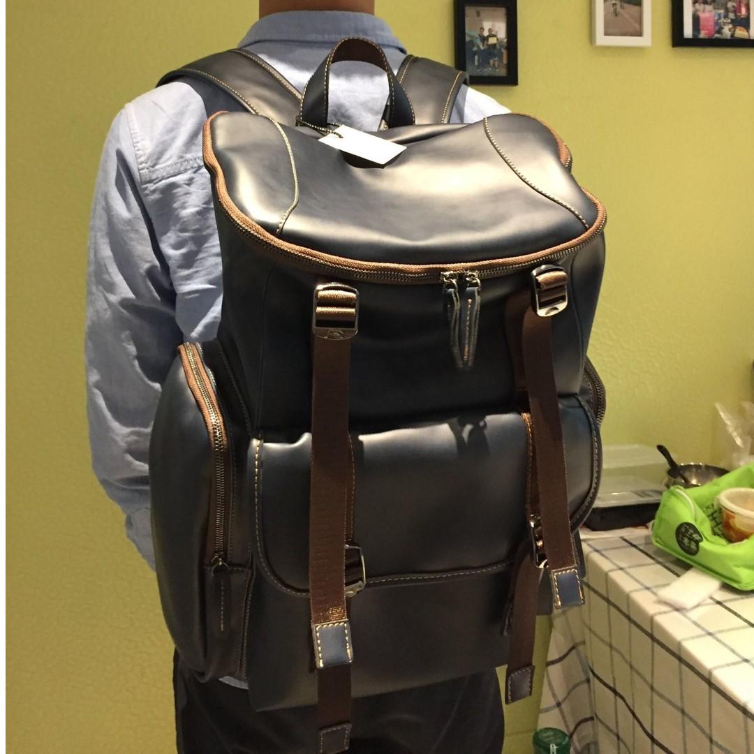 真皮牛皮後背包 大容量空間 深藍色 全新品限量1個