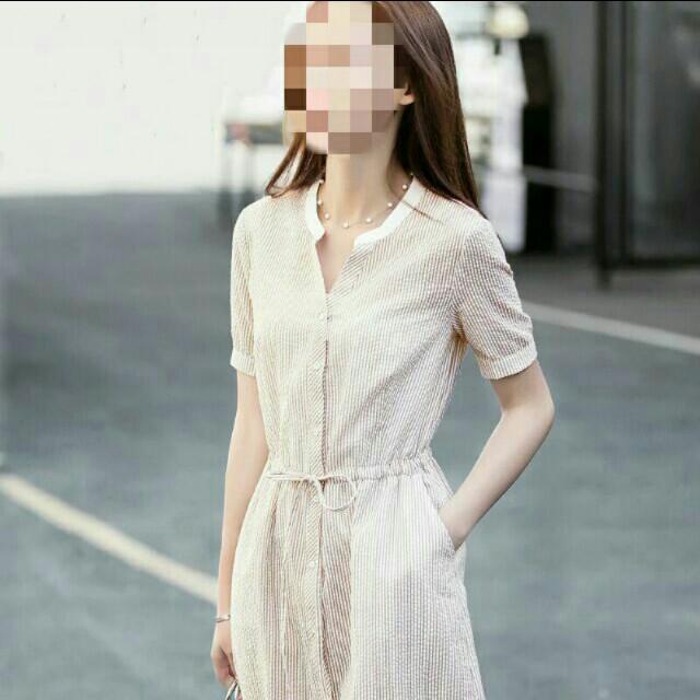 (全新) 春夏清新文青風條紋豎紋中長款連身裙連衣裙洋裝 - 棕紅條紋