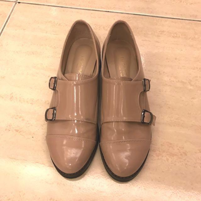 韓 牛津鞋 亮皮 裸色 24.5