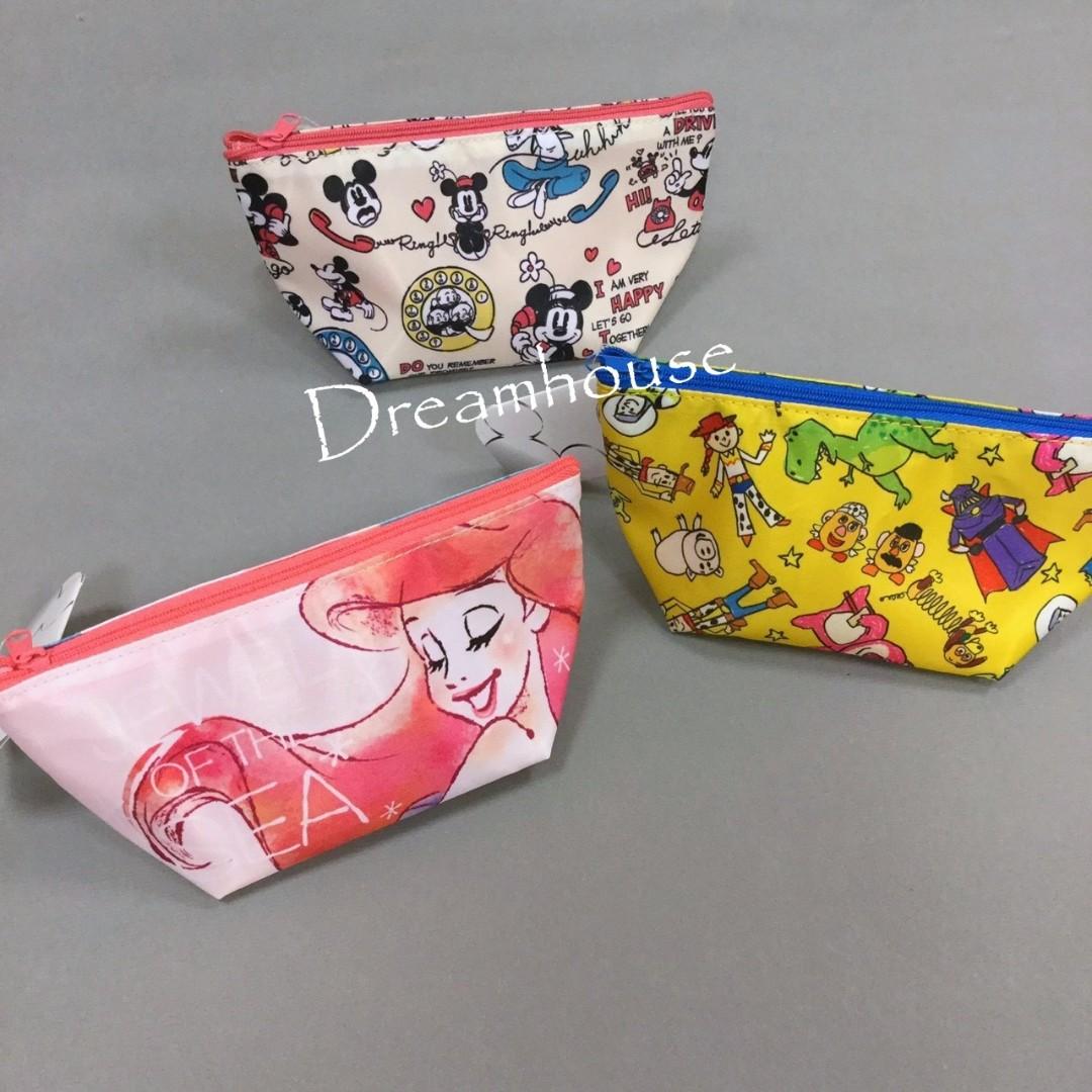 東京迪士尼 小美人魚、米奇米妮、玩具總動員 防潑水 化妝包 萬用包