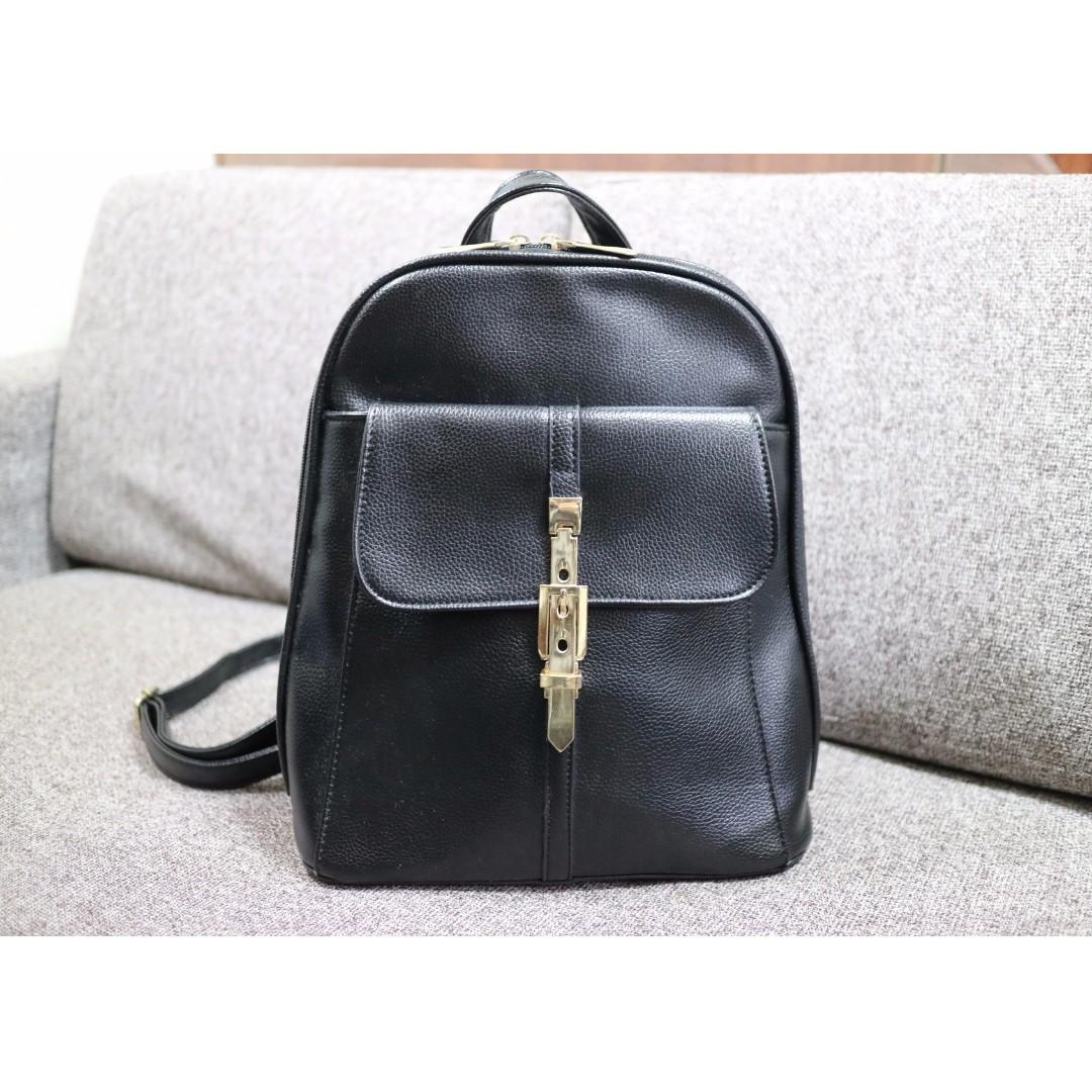 韓國帶回 韓妞必備 全新品 質感皮革後揹包 後背包