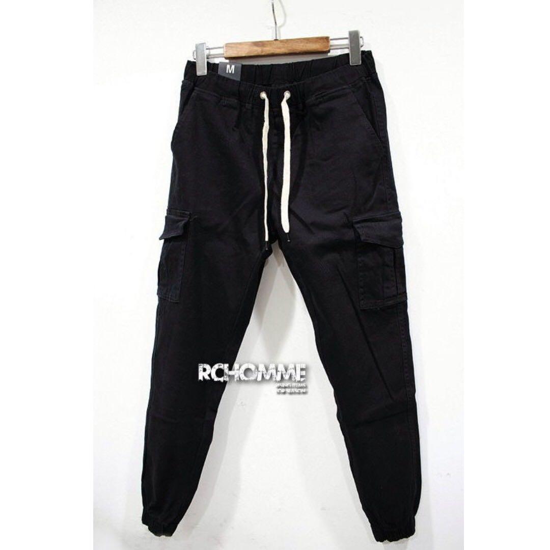 低調洗水挺實布料 側口袋 哈倫剪裁 彈力工作縮口褲 黑色