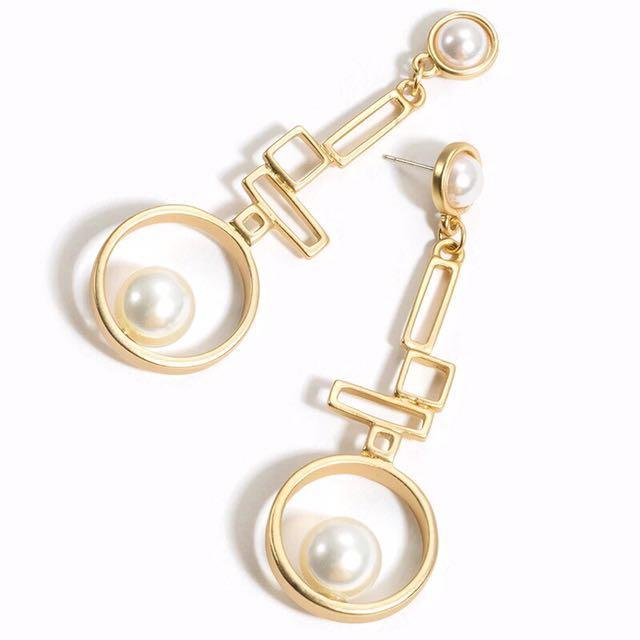 (限時特價)韓 不規則 幾何圖形 珍珠 垂墜式耳環 現貨