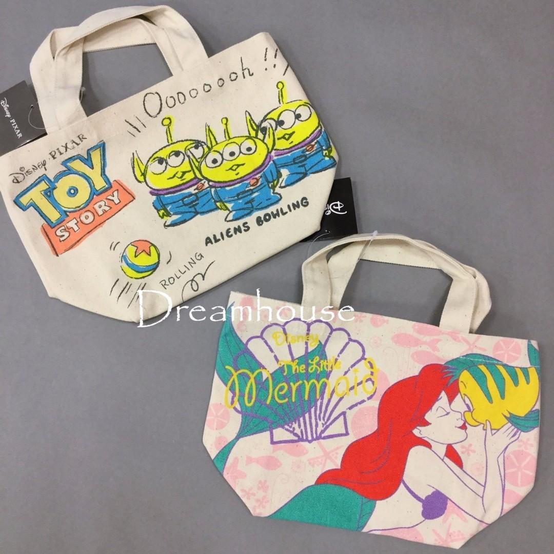 日本帶回 玩具總動員 三眼怪 小美人魚 比目魚 帆布 手提 購物袋 隨身袋 便當袋