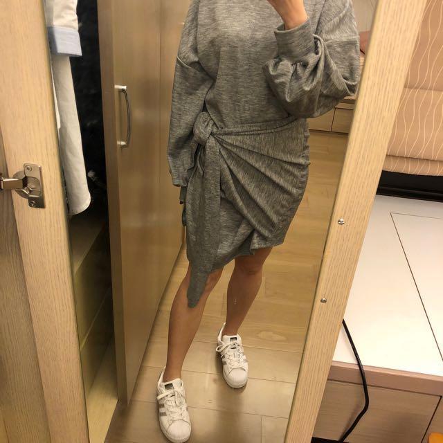 正韓 厚棉料 不對稱長版衛衣 大學T 短洋裝 全新轉賣 裙子
