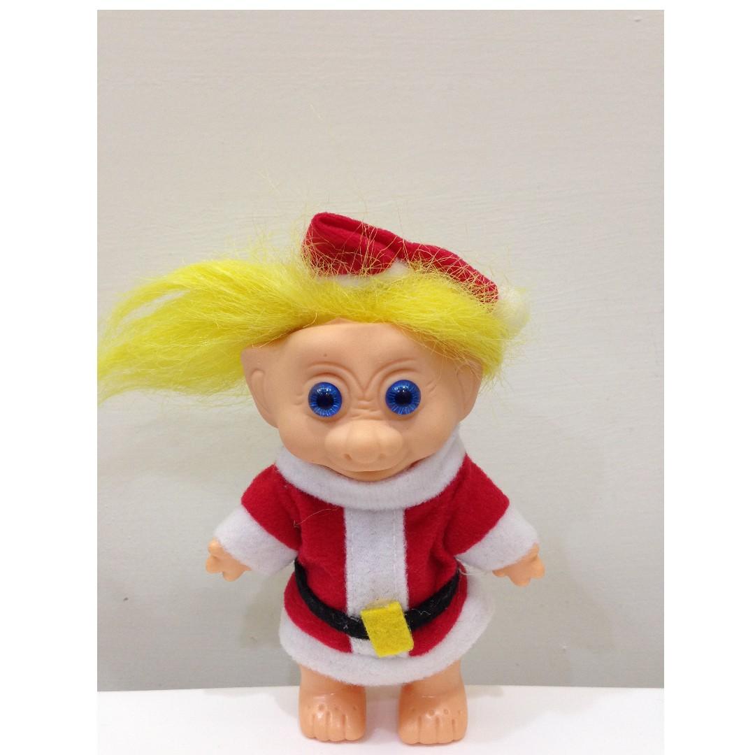 [少見款] 幸運小子 (豬鼻聖誕老公公)醜娃、巨魔娃娃、醜妞、Troll Doll、魔髮精靈