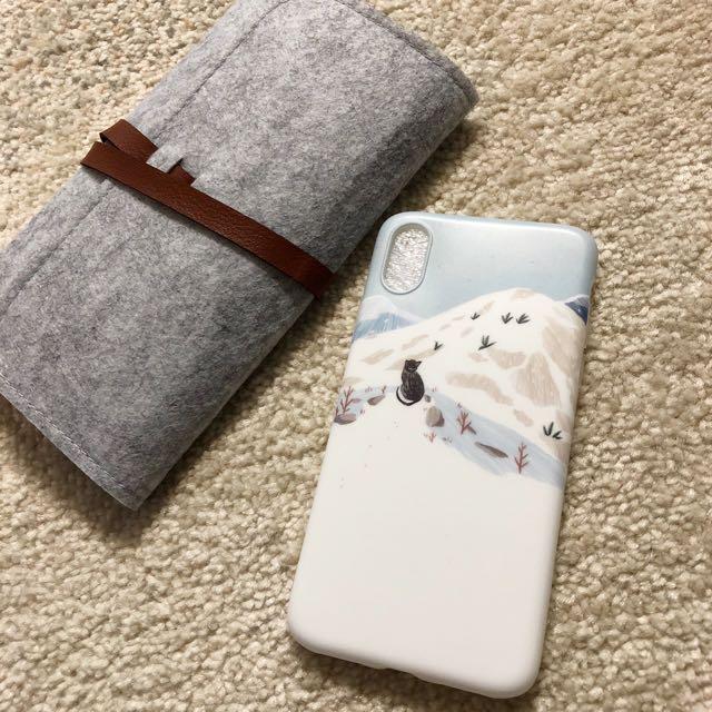 雪地貓咪磨砂手機殼 iPhone X