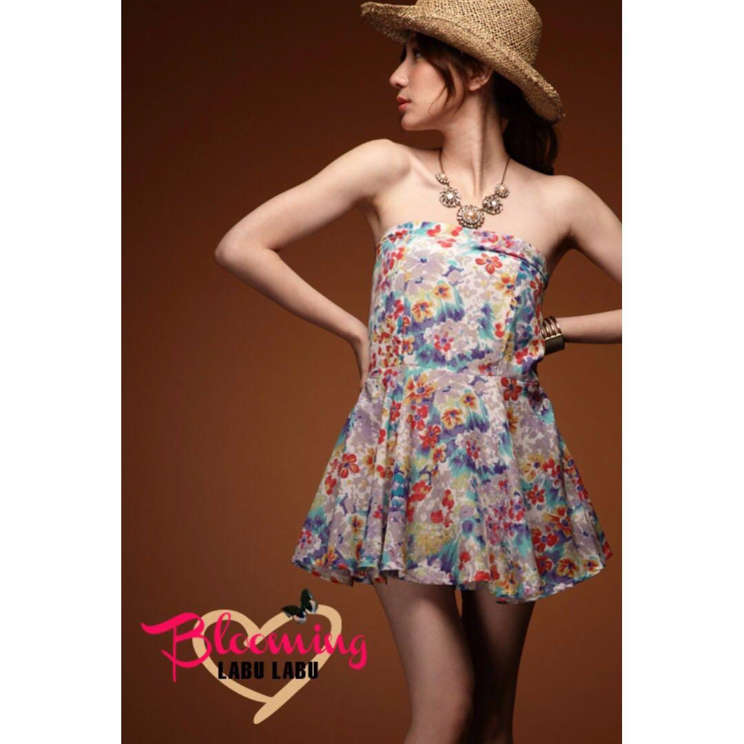 轉 LABU 韓式歐美潑墨暈染花卉滑布洋裝連身褲裙