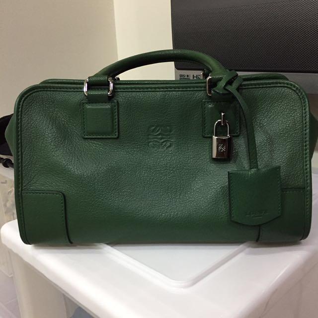 保證正品 Loewe Amazona 小牛皮x羊皮內裡 墨綠包