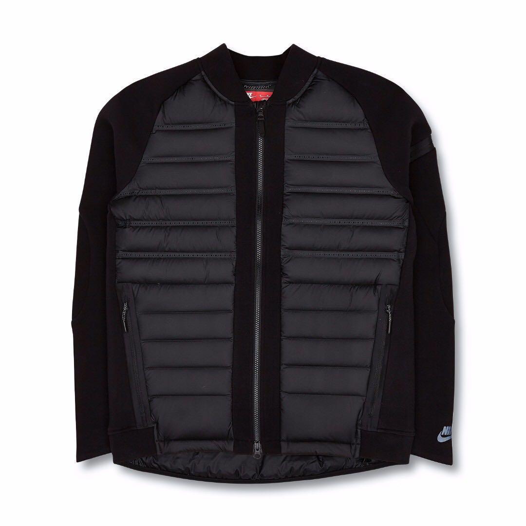 天氣轉涼 NIKE Tech Fleece Aeroloft Bomber Jacket Black 黑色 / 羽絨外套 FP800 / 反光拉鏈 / 鵝絨 全新