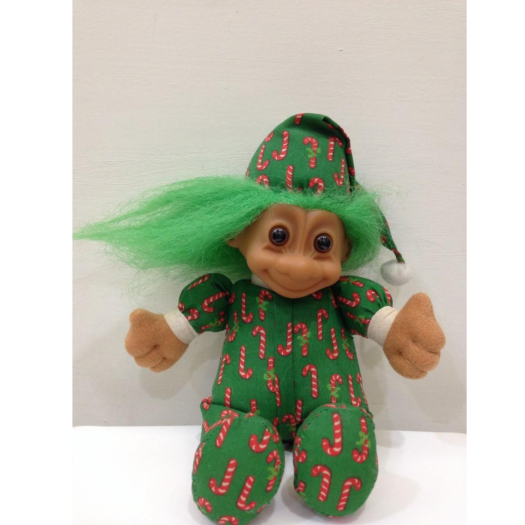 幸運小子 (耶誕拐杖糖寶寶)醜娃、巨魔娃娃、醜妞、Troll Doll、魔髮精靈