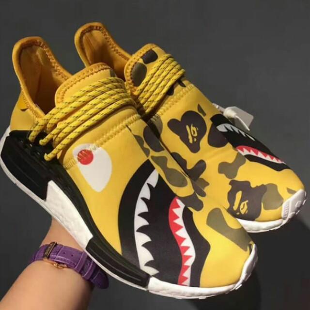 "18420ecb7bd8 Adidas NMD Human Race R1 x Pharrell Williams x Bape ""Yellow Shark ..."