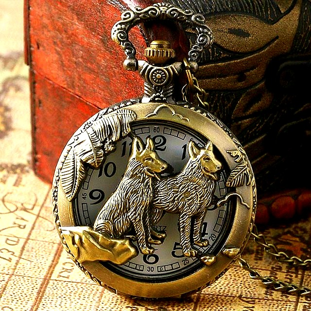 """Antique Bronze Wolves Hollow Face Quartz Analog Self-Winding Mechanical Pocket Watch on 14.17"""" Inch Bronze Chain NEW  How To Use Mechanical Watch? •A Mechanical Watch is Powered by Winding Spring Manually or Self-Winding No Battery Needed NEW"""