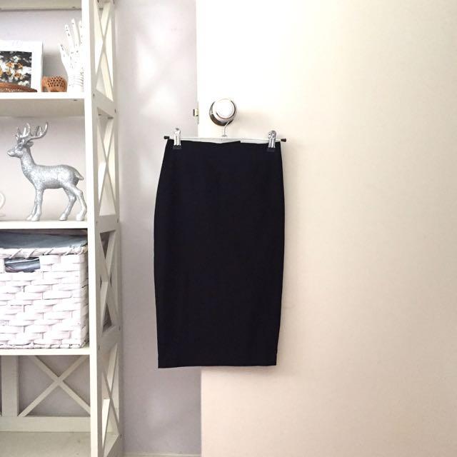 ASOS black petite high waisted pencil skirt