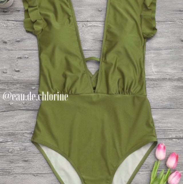 Aussie Green Olive One Piece Swimsuit Monokini Swimwear