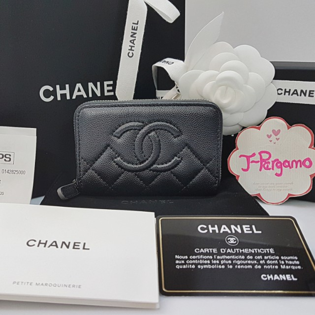 Authentic BNIB Chanel Quilted Caviar Zippy Card Holder SHW  {{ Only For Sale }} ** No Trade ** {{ Fixed Price Non-Neg }} ** 定价 **