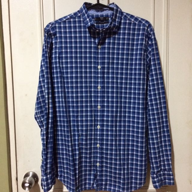 Authentic Mango Blue Checkered Shirt M