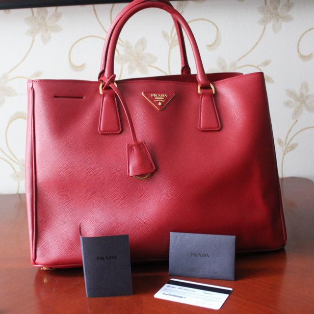 777f66f67f Authentic Prada Saffiano Lux Tote Red Large with Gold Hardware ...