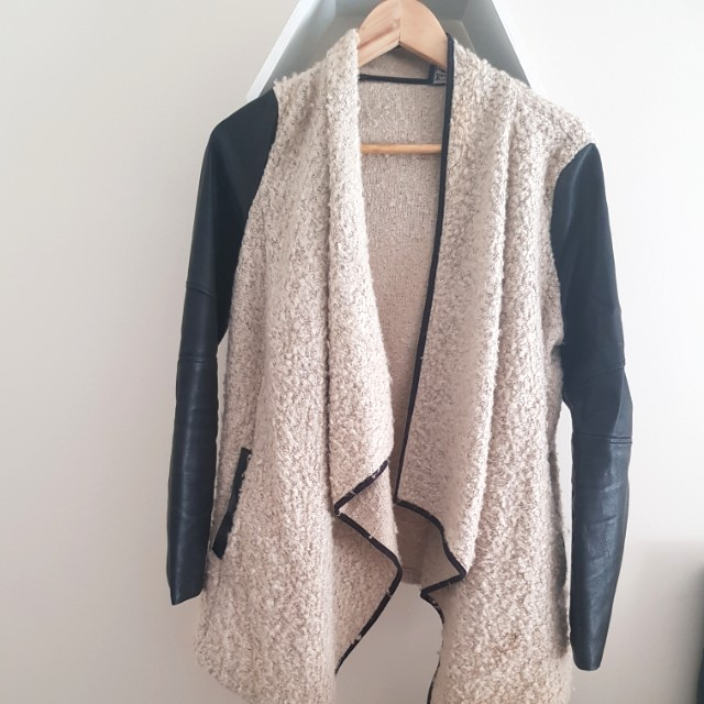 Bardot jacket with leather sleeves