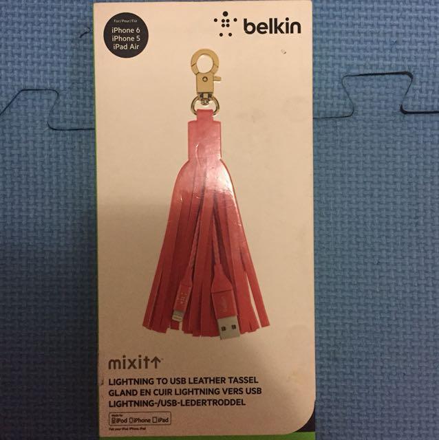 Belkin lightning to usb leather tassel