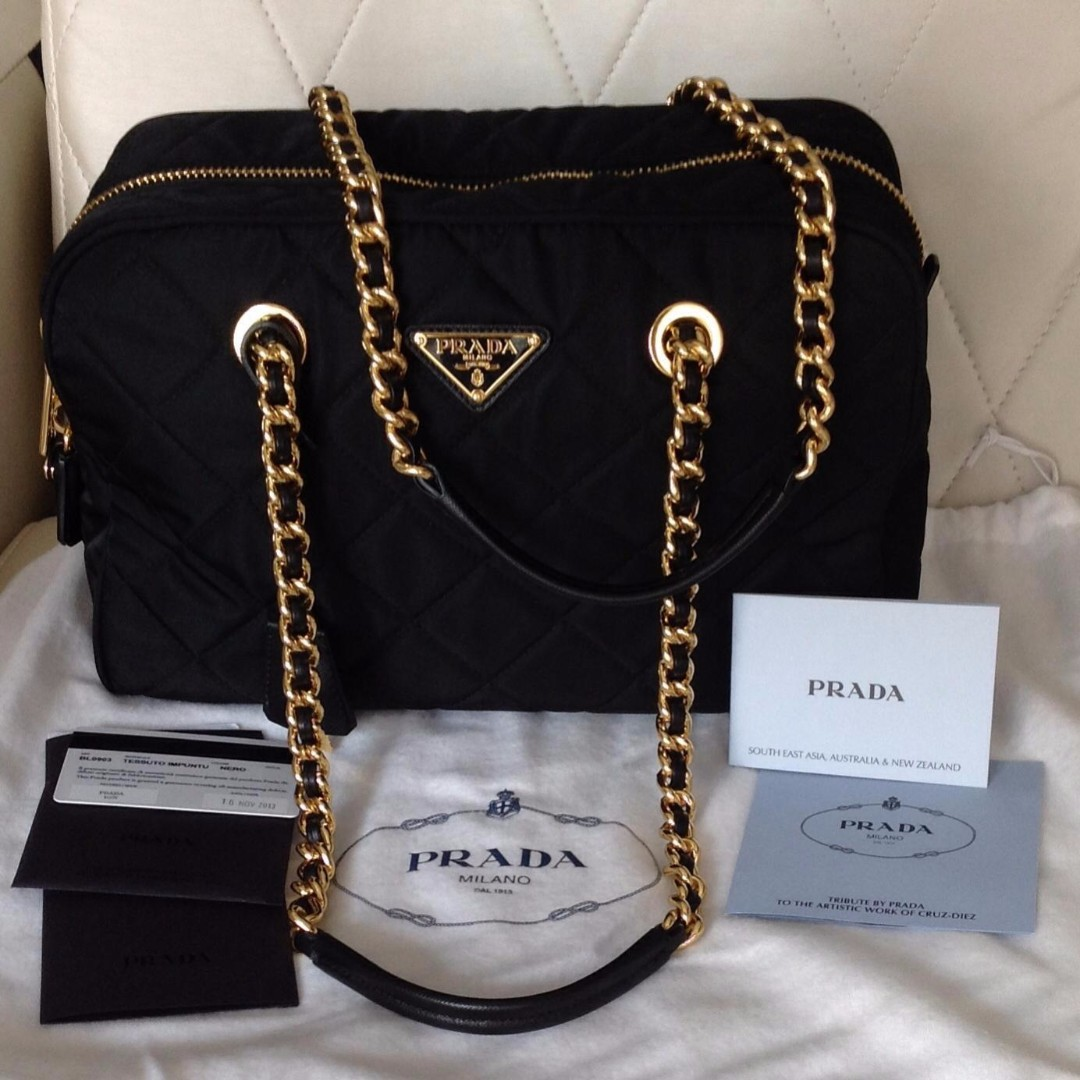 25c6e7a59c56 ... free shipping bl0903 prada quilted tessuto nylon shoulder bag with chain  accents preorder womens fashion bags