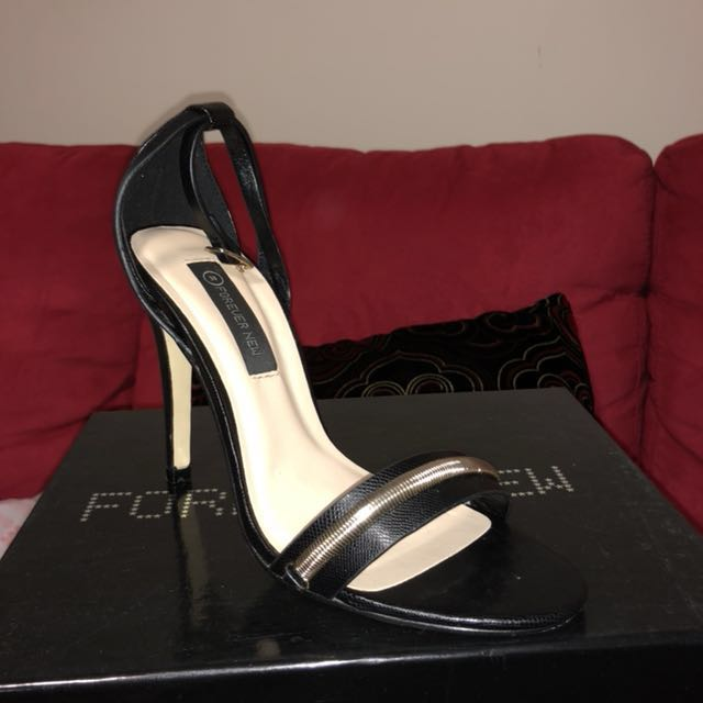 Black ankle strap heel Forever New