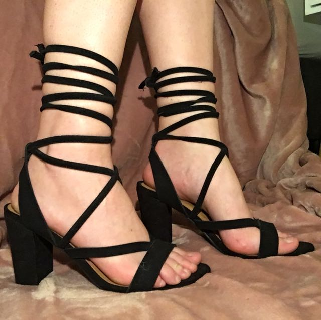 Black lace up block heels