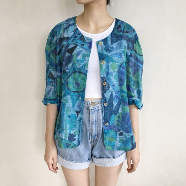 Blue Green Abstract Blouse
