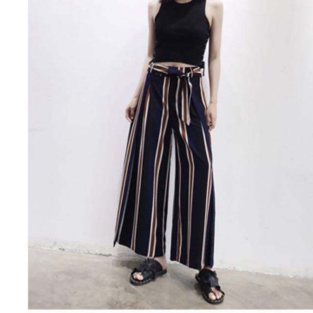 Blue red stripped slit culottes pants