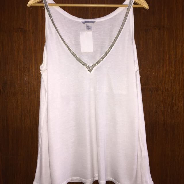 BNWT H&M BEADED CAMISOLE TOP | WHITE