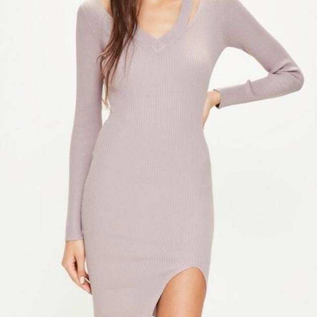 BNWT Missguided purple cut out v neck ribbed